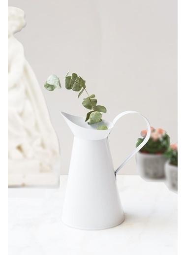 Kitchen Love Kulplu Metal Italyan Vazo Beyaz